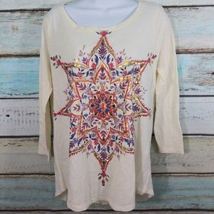 *NEW* Lucky Brand Lucky Lotus Graphic Top